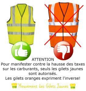 Manifestation des gilets jaunes : les gilets oranges ne seront pas les bienvenus !